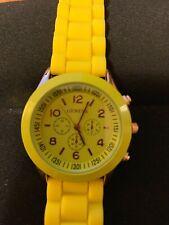 Geneva Women's Watch Silicone Band New w/extra battery Banana Yellow