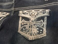 Faded Glory embellished rhinestone pocket blue jeans juniors size 16 Awesome!!