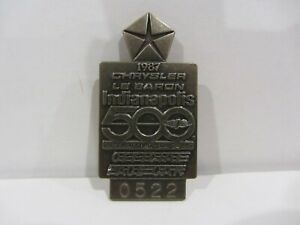 1987 INDIANAPOLIS 500 SILVER BADGE AL UNSER 4th win CHRYSLER LE BARON INDY CAR