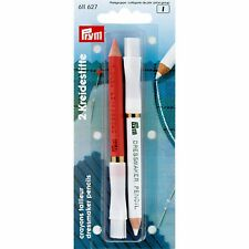 Prym 611627 Chalk pencils and brush, white/pink,11cm,2 pieces