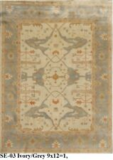 India Hand Knotted 9x12 270x365 Oushak Persian Oriental Wool Carpet Area Rug