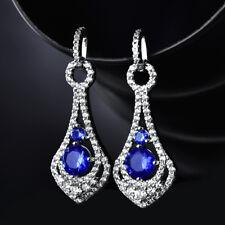 HUCHE Ocean Blue Round Sapphire Crystal White Gold Filled Drop Women Earrings