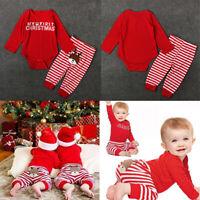 Baby Girls Boys My 1st Christmas Santa Claus & Deer Rompers Bodysuit with Pants