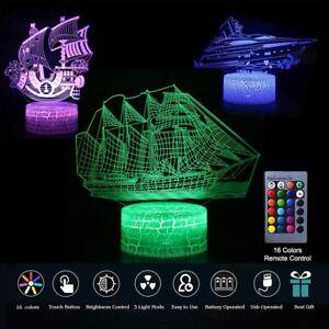 3D Night Light USB 7 Color Changing LED Desk Optical Illusion Lamp for Kids GIFT