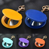 Folding Cosmetic Mirror Key Ring Mini Round Mirror Key Chain Portable Keyrings