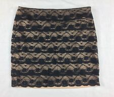 FOREVER 21 Women's Nude Lining Black Lace Mini Skirt Size L