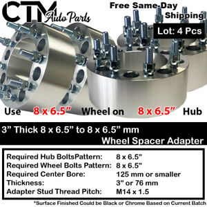 """4PC 3"""" THICK 8x6.5"""" to 8x6.5"""" WHEEL SPACER ADAPTER FIT 9/16 GMC CHEVY DODGE FORD"""