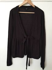 HOBBS CHOCOLATE BROWN SILK/WOOL AUTUMN WINTER CARDIGAN SIZE 14 ♡♡♡