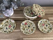 Vintage Paper Mache Floral Coasters Made Occupied Japan 1940'S Set In Box Old