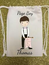 PERSONALISED - PAGE BOY - WEDDING GIFT BAG - drawstring