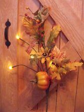 PUMPKIN LED LIGHTED FARM AUTUMN WILD FLOWERS TWIG TREE BRANCH SWAG VASE FILLER