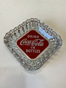 Authentic Rare 1920's-1930's Coca Cola Advertising Glass Ashtray Sign