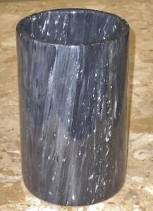 "VTG Gray Marble Flower Vase Home Decor Flower Pot Precious Stone Floral Work 7"""