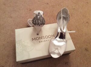 Ivory Satin Jewelled Bridal Shoes - Monsoon
