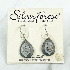 Silver Forest Silver Tone Genuine Shell Surgical Steel Dangle Earrings