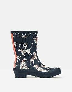 Joules Womens Molly Mid Height Printed Wellies - Navy Dalmatian