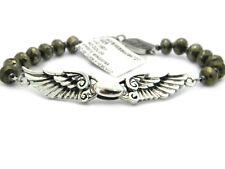 King Baby Studio Mens Pyrite Bead Silver Wingspan Bracelet NWT