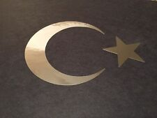 Star & Crescent Moon #2 chrome Turkish Flag Islamic Muslim Symbol Vinyl Decal 5""