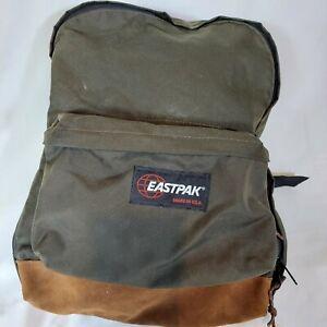 Vintage Eastpak Backpack Leather Bottom Made In USA Green