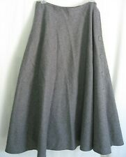 100% Wool Skirt Gray Size 10 A-Line Wrap Around Side Button Rafaella