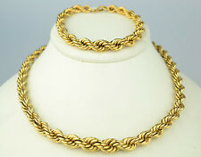 VINTAGE GOLD FILLED THICK GRADUATED ROPE CHAIN NECKLACE & BRACELET DEMI PARURE