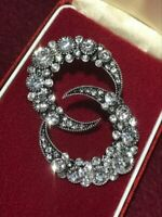 Stunning Large Rhinestone Encrusted Silver Tone Crescent Moon Earrings