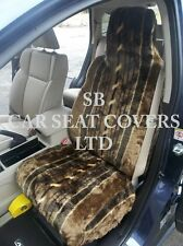 i - TO FIT A JAGUAR X TYPE CAR, SEAT COVERS, 2 FRONTS, NUTMEG STRIPE FAUX FUR