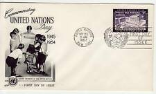 United Nations 3c United Nations Day 1954 First Day Cover, Special PMK