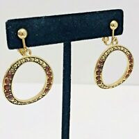 Vintage Rhinestone Circle Dangle Earrings Amber Color Crystal Gold Tone Clip On