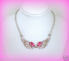 PINK RHINESTONE SILVER ANGEL WING NECKLACE VALENTINES DAY GIFT FOR HER MOM WIFE