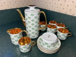 Arklow Patricia 16 pc Tea Pot Demitasse Cups Shamrock Clover Gold Ireland Set