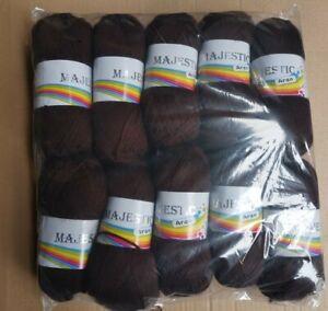 10 x Majestic Aran Wool Chocolate Brown Mixed Fiber 100g Balls 1kg Dark Brown