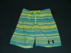 Men's Boy's Under Armour Loose Heat Gear Blue Stripe Board Shorts Size 28