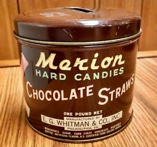 Mekion Hard Candies Chocolate Straws Tin, E. G. Whitman, Vintage
