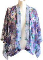 TOPSHOP Purple Floral Kimono Boho Festival Lagenlook Sheer Open Front 6 UK 34 EU