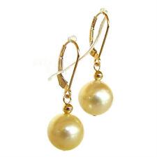 10.5mm Australian South Sea Champagne Pearl 14K Yellow Gold Lever Back Earrings