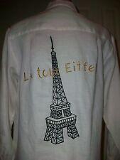 Women's vintage Jaime Paris Effiel tower embroidered sheer LONG blouse MINT 4