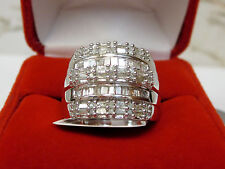 Large 1.12 CT Round Baguette Diamond Wide Chunky Cigar Band Ring Silver Sz 6