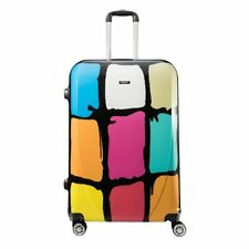 "28"" Large PC Suitcase Multicolor Plaid Wheels Telescopic Handle TSA Luggage Bag"