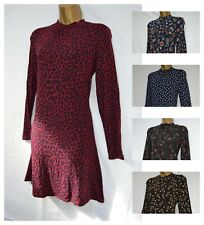 EX M&S TUNIC DRESS SWING JERSEY NAVY BLACK RED BERRY FLORAL POLKA ANIMAL 6 - 24
