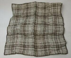 Brunello Cucinelli Double Face Pattern Linen Pocket Square Brown Handkerchief