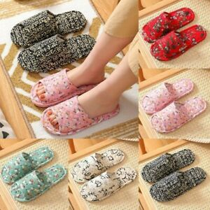 Women/Men Floral Soft Anti-Slip Home Indoor Shoes Open Toe Flat Slippers Unisex