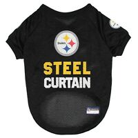 Pittsburgh Steelers Steel Curtain NFL Dog Pet Jersey Black Sizes XS-XL