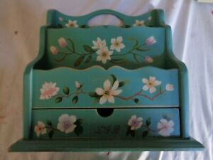 VINTAGE LETTER MAIL HOLDER WITH DRAWER BLUE FLORAL