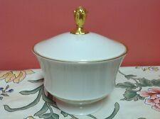 Lenox China Crescent Collection Cream Gold Trim Sugar Bowl w/ lid