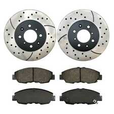 Performance Drilled and Slotted Rotors Pair + Premium Ceramic Brake Pads Set