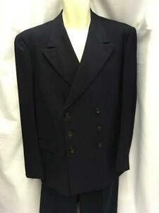 """Vintage Suit 1950s Double Breasted Blue Wool  42"""" chest  30"""" leg  36"""" waist"""