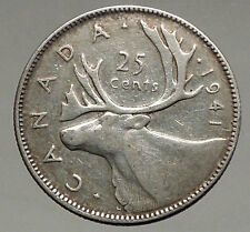 1941 CANADA King George VI of Britain Domains Silver 25 Cent Coin CARIBOU i56637