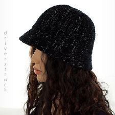 CROFT & BARROW Women's BLACK with SILVER Metallic Sparkle BUCKET HAT Winter Cap