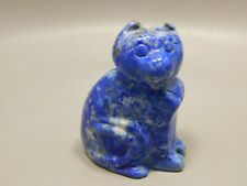 Cat Carving Lapis Lazuli Small Animal Carved Fetish 2 inch Blue Stone #1